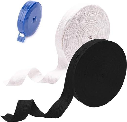 Cinta de encuadernación con sesgo de cinta de algodón, cinta de empavesado de algodón, para coser delantal artesanal de alteraciones de la confección, 25 metros 25 mm, blanco y negro: Amazon.es: Hogar