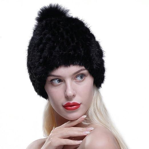 a41e4a6b3 URSFUR Women Winter Hat Knit Mink Fur Beanie Cap with Fox Pom Pom Multicolor