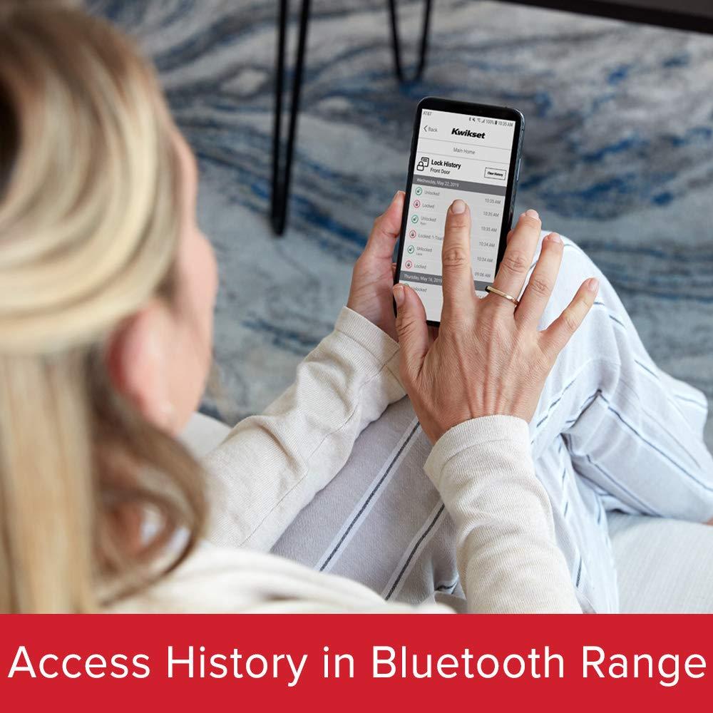 Kwikset 99420-003 Aura Keypad Door Lock Smart Bluetooth Deadbolt Featuring SmartKey Security Iron Black