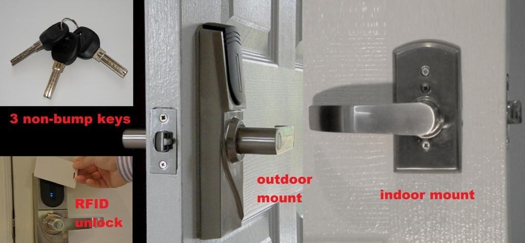 Amazon.com : METechs   Keyless Electronic RFID Card Reader Door Lock MID300  Left Hand : Camera U0026 Photo