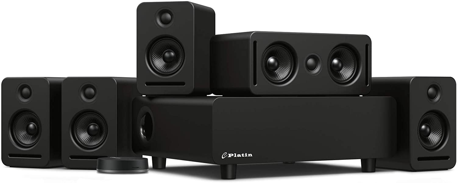 Platin Monaco 5.1 with WiSA SoundSend | Home Theater System for Smart TVs | Wireless Transmitter | Feature 5.1 Channels of Uncompressed 24-bit 48/96 kHz Sound | WiSA Certified & Tuned by THX