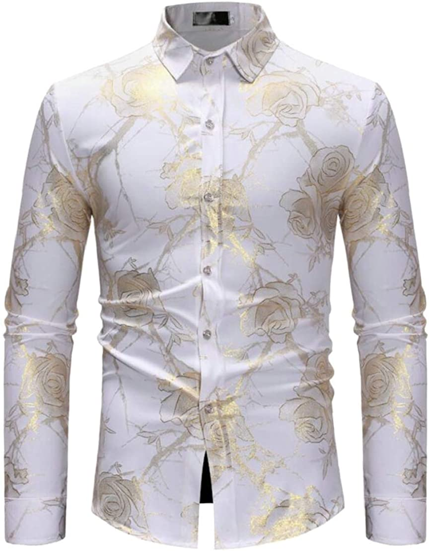 Wofupowga Mens Curved Hem Loose Lapel Neck Floral Printed Button Down Shirts