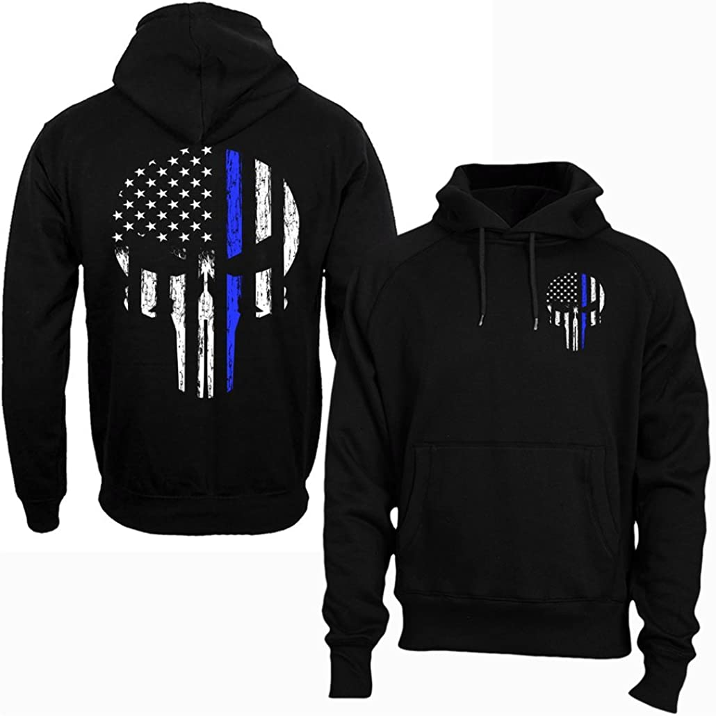 Patriot Skull Tactical Grey Thin Blue Line Police Sweatshirt