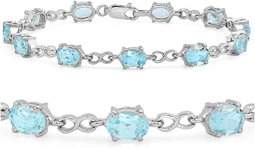 Blue Sapphire Clear Topaz  925 Silver Tennis Gemstone Bracelet FREE  Gift Box