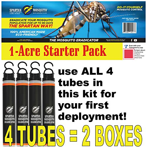 SPARTAN MOSQUITO ERADICATOR ONE Acre Starter Pack (4 Tubes); Best Whole Yard Outdoor Killer Barrier Solution; More Effective Than ShortTerm Insect Repellent Trap Mosquito Free Backyard Garden Patio ()