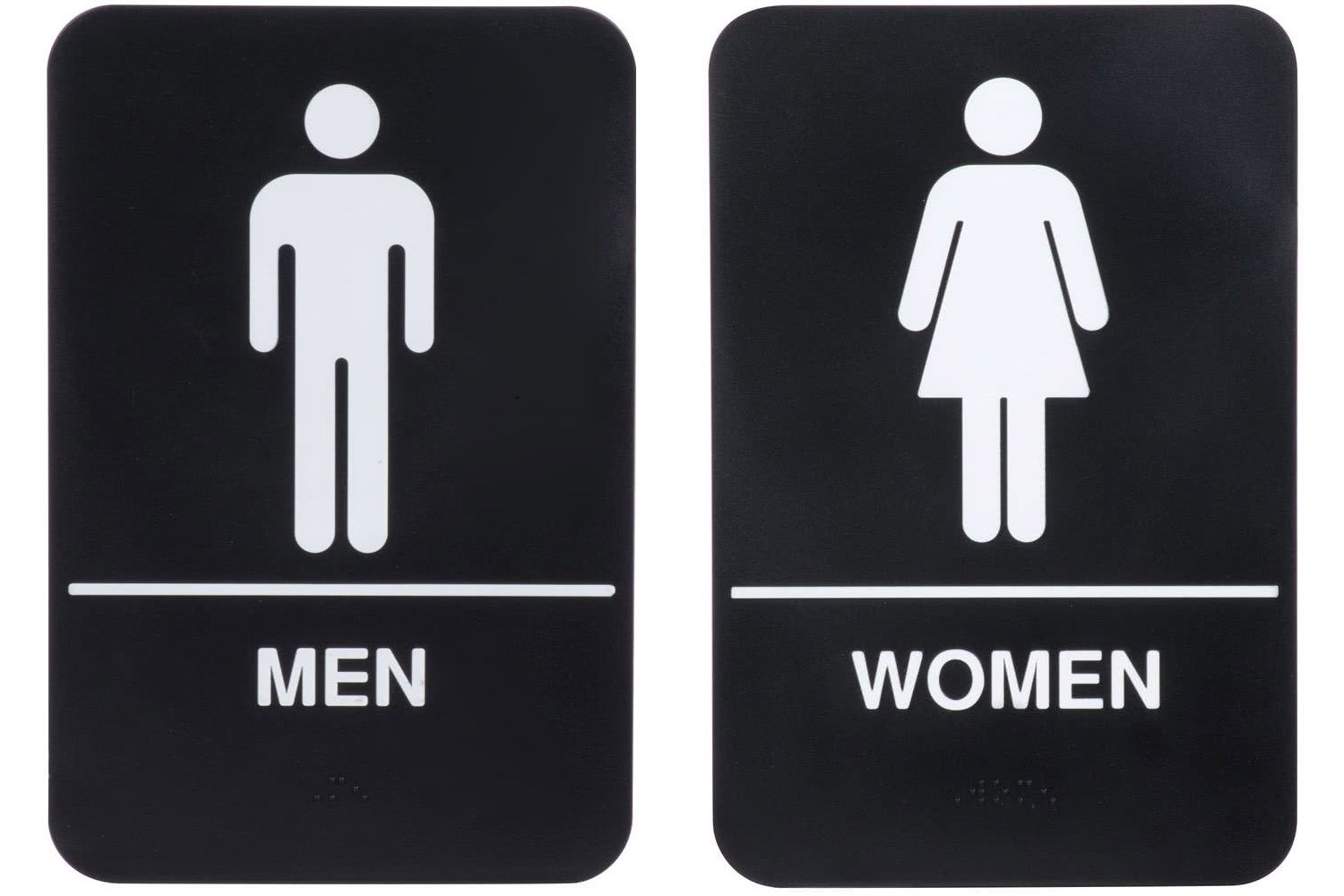 ''Men'' & ''Women'' Restrooms Sign Set with Braille, Toilet Door Plate for Business Restaurant, 6'' x 9''