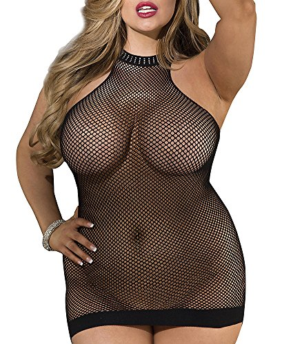 Shirley of Hollywood Plus Size Halter Fishnet Chemise, One Size, Black