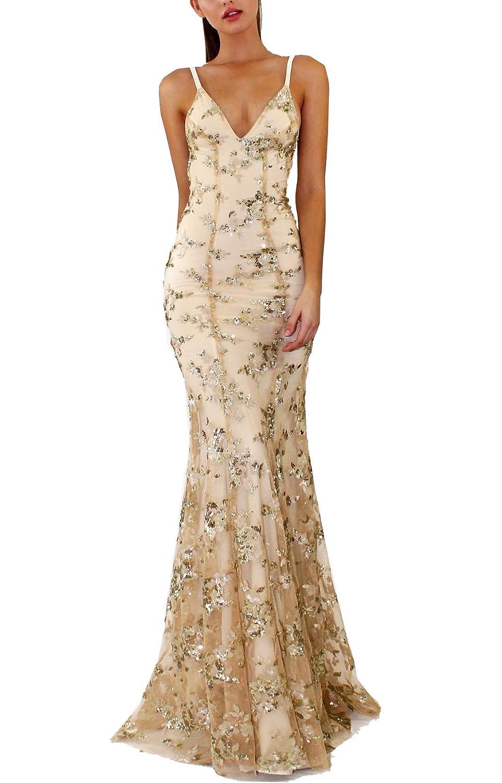 Beige PJTOP Women's Sequins VNeck Backless Empire Waist Party Wedding Maxi Long Dresses