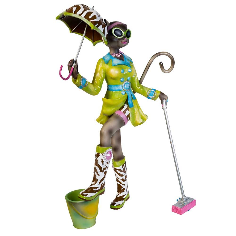 Kurt Adler Alley Cats Resin Go Go Mopping Table Piece, 8-Inch