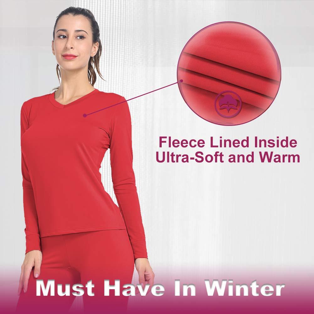 MANCYFIT Womens Thermal Tops Fleece Lined Shirt Long Sleeve Base Layer