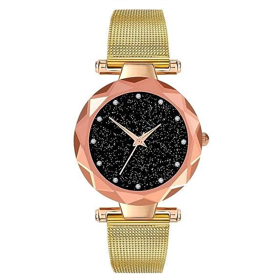 ZXMBIAO Reloj De Pulsera Relojes De Lujo para Mujer Minimalismo Cielo Estrellado Imán Hebilla Moda Casual Reloj De Pulsera Femenino, Oro: Amazon.es: Relojes