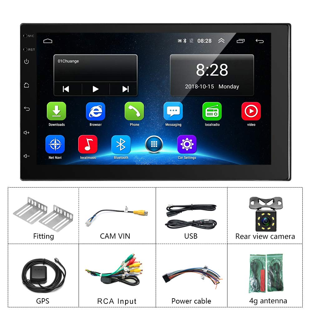Double Din Car Stereo WiFi GPS USB Backup Camera Car Stereo Bluetooth 32GB FM//AM 2 Din Head Unit Touchscreen Indash Stereo 4G SIM Card 7 Android Car Radio 2GB