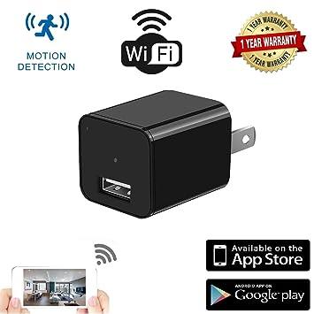 Amazon.com: Cámara espía. Cámara oculta WiFi. Cargador de ...