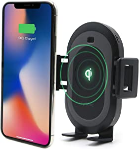 Bolt Smart Automatic Car Mount Qi Fast Wireless Charger for iPhone X, XS, 8, 8 Plus, Samsung Galaxy S9, 9, S8, 8, and Qi-Enabled Devices
