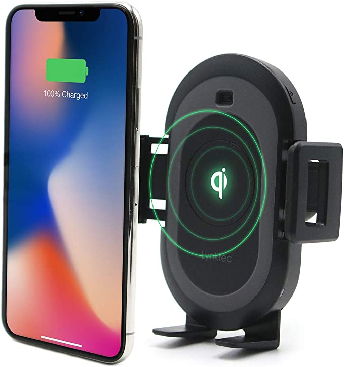 Bolt Smart Automatic Car Mount Qi Fast Wireless Charger for iPhone X, XS, 8, 8 Plus, Samsung Galaxy S9, 9, S8, 8, and Qi Enabled Devices