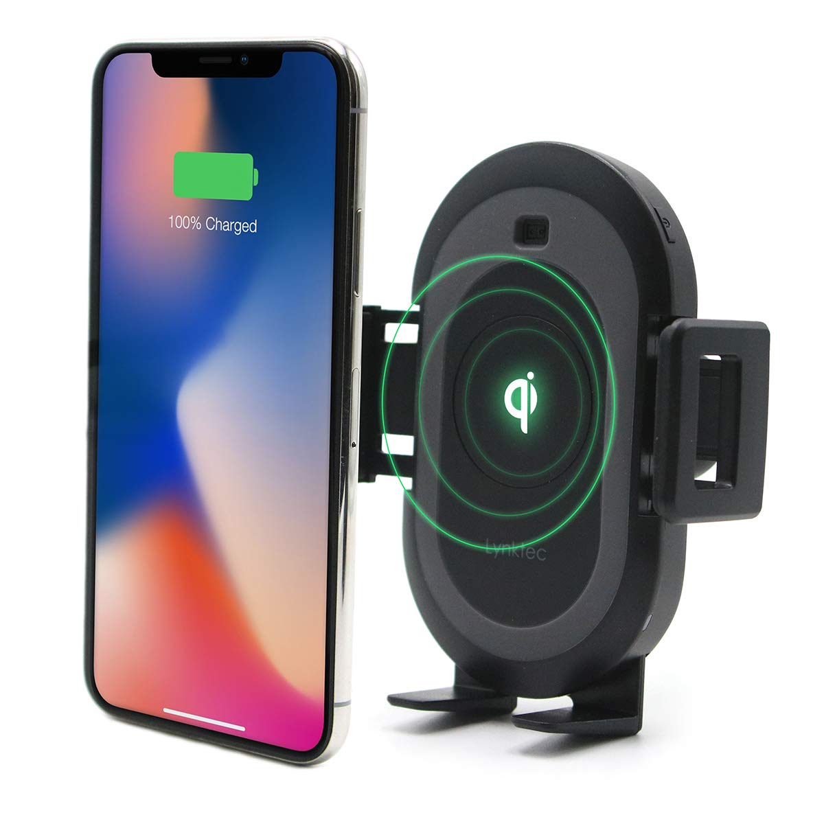 Bolt Smart Automatic Car Mount Qi Fast Wireless Charger for iPhone X, XS, 8, 8 Plus, Samsung Galaxy S9, 9, S8, 8, and Qi-Enabled Devices by Lynktec