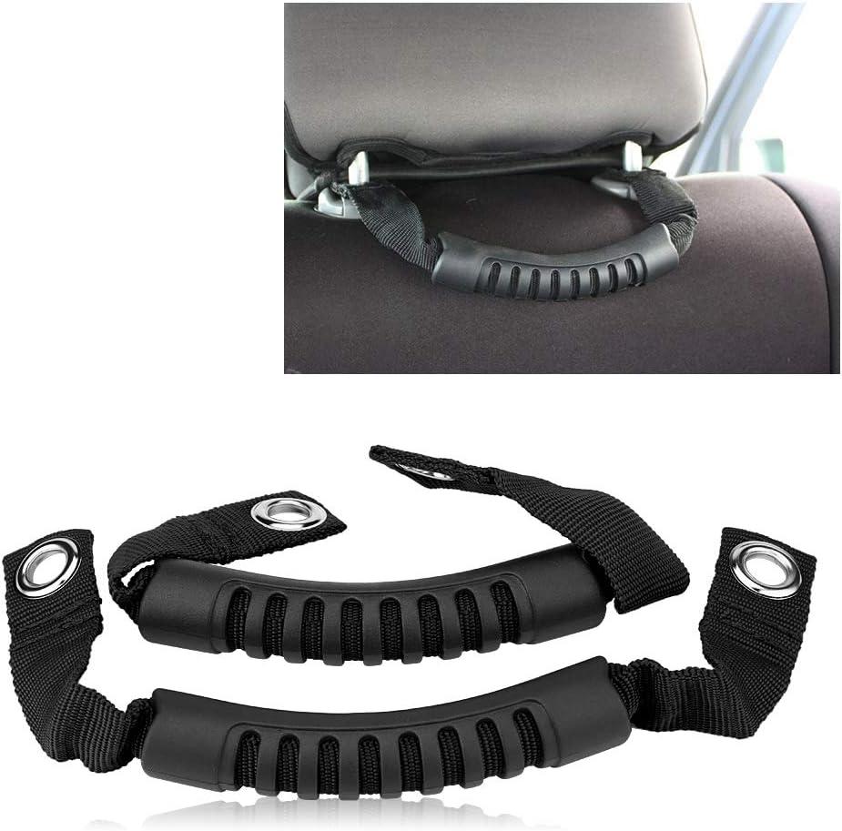 Black Grab Handle,2Pcs Car Rear Seat Back Headrest Grab Handle Set with Hole for JEEP Wrangler 1995-2017