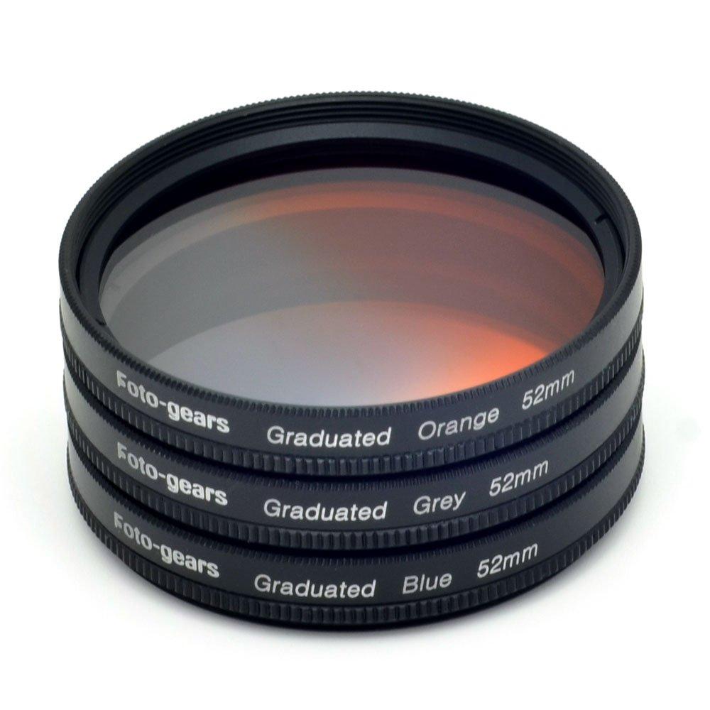 A Foto-gears Mesen New Professional 52mm Graduated Colour kit Filter Grey + Blue + Orange Filter kit for Pentax Fujufilm Sigma Olympus Nikon CANON Nikon D3100 D3200 D5100 D5200 GoPro Hero 3 Pro1 D Pro1D 52MM Graduated Colour Filter 52MM Mesenltd