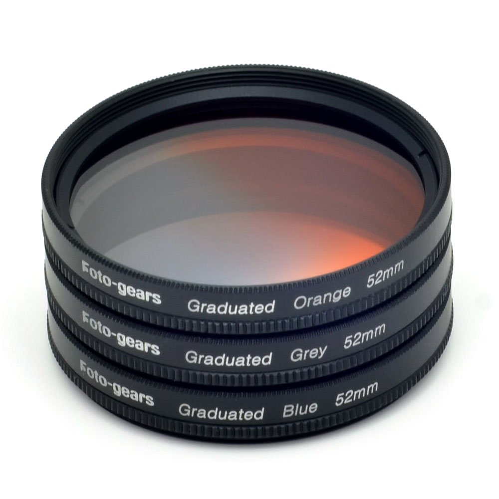 52mm Graduated Colour Filter set Graduated Grey + Blue + Orange Filter Kit