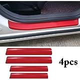Fusion Graphix 4PCS Car Sticker Universal Anti-Scratch Door Sill Car Decal Car Sticker Decal (Red)