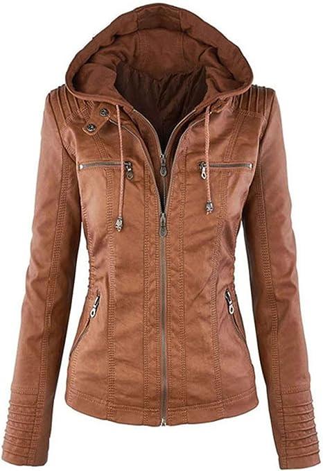 Seamido Lederjacke Damen Herbst Winter Motorrad Jacke