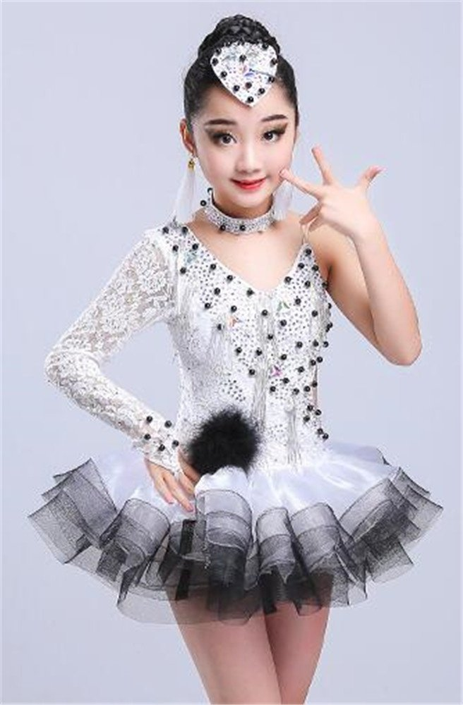 Blanc long peiwen Costume Spectacle de Danse Shining Stage de la Fille Robe de Danse Latine des Enfants 160cm