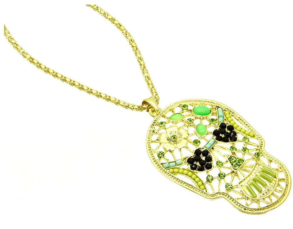 Fashion Jewelry ~ Green Beads Filigree Skull Pendant Necklace (PKN3321GDGRN)