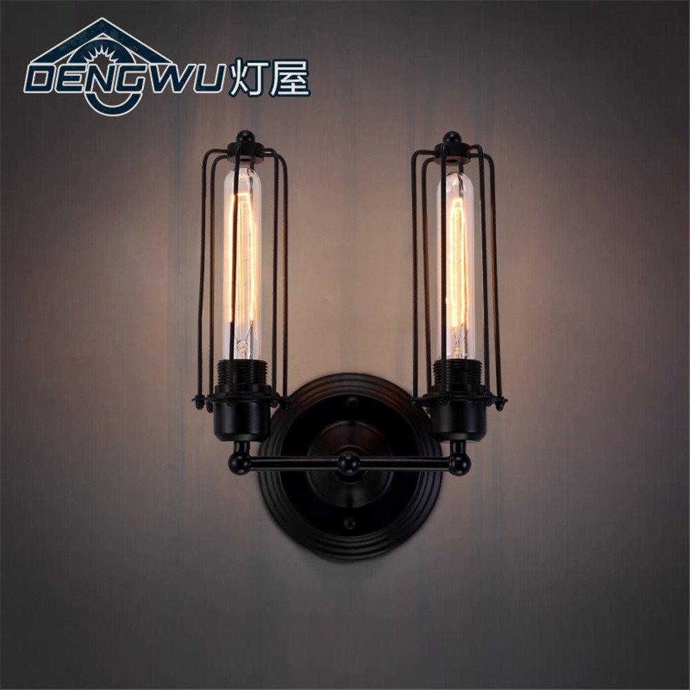 DengWu lampada da parete Arte corridoi esterni scala corridoio al ingresso lampade industriali retrò Soggiorno Ristorante doppia testa di ferro luci a parete