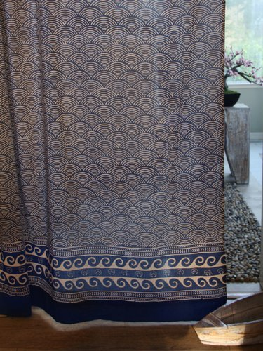 Saffron Marigold – Pacific Blue – Deep Navy Blue and White Ocean Wave Japanese Inspired Nautical Hand Printed – Sheer Cotton Voile Curtain Panel – Tab Top or Rod Pocket –(46