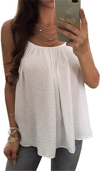 Mujer Camisas Verano Sin Mangas Espalda Descubierta Sling ...