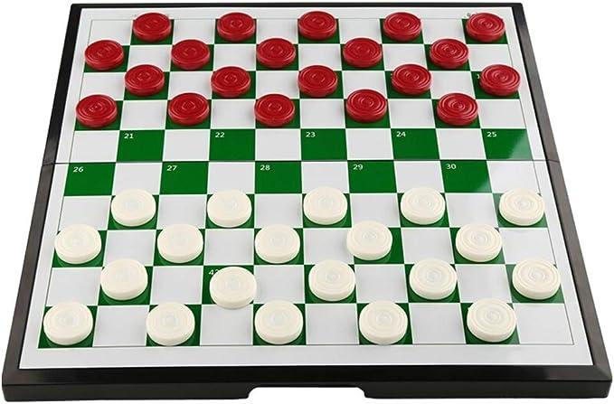 Juegos de mesa Ajedrez Creativo Juego de damas de plástico para niños Estudiantes de ajedrez Rompecabezas de piezas de ajedrez magnéticas de cuadrícula 64/100 Plegables damas portátiles de ajedrez Aje: Amazon.es: Hogar