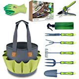 Hortem Gardening Tools Set for Women and Men, 9PCS Garden Tools Kits Include Hand Shovels Set, Garden Bag for Tools, Pruing Shears, Gardening Gloves, Smart Gardening Gifts Set