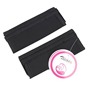Zicac 2 Pcs Universal Baby Single Handle Pram Pushchair Buggies Stroller Handle Grips Bar Velcro Cover (Black)