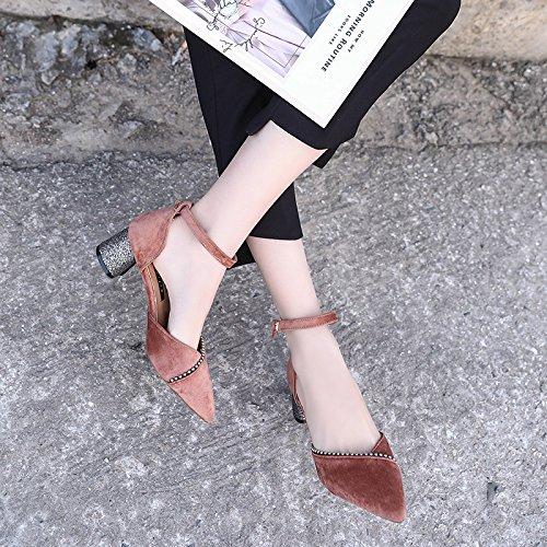 36 Hembra Zapatos Baotou con con Corte Huecos Xue Zapatos de Hebilla la Punta Gruesa Zapatos con Qiqi con Mujer Rosa PU1x5qX