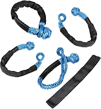 4X, Green Astra Depots Set 1//2 Soft Shackle Rope Synthetic with Protective Sleeve 38,000LBs Max Breaking WLL 15,000LBs 7.5 Tons
