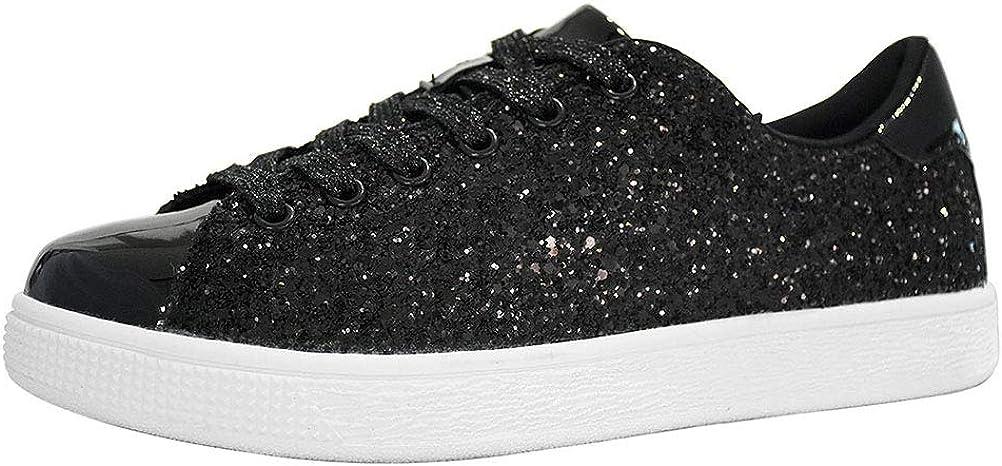 all black glitter sneakers