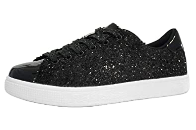 7af08fd4a85d LUCKY STEP Glitter Sneakers Lace up | Fashion Sneakers | Sparkly Shoes for  Women (6