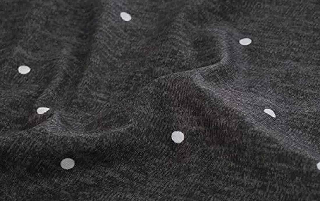 Womens Color Block Long Sleeve Polka Dot Striped T Shirt Tunic Tops