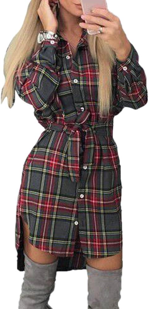Vestido de Mujer Manga Larga Blusa Irregular Cuadros clásicos Camisa con cinturón Grey XS: Amazon.es: Ropa y accesorios