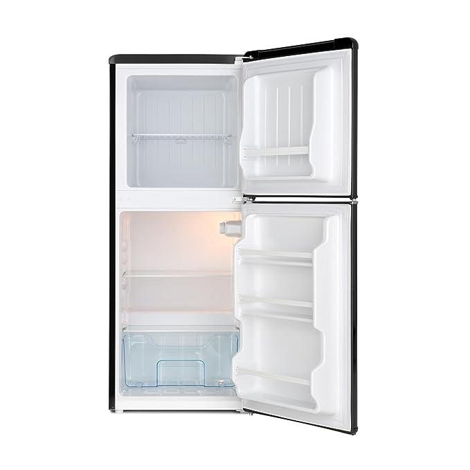 Klarstein Monroe L - Nevera Combi, Aspecto retro, Nevera de 70 l, 38 litros de congelador, 2 estantes de vidrio, Cajón de verduras, 2 compartimentos ...