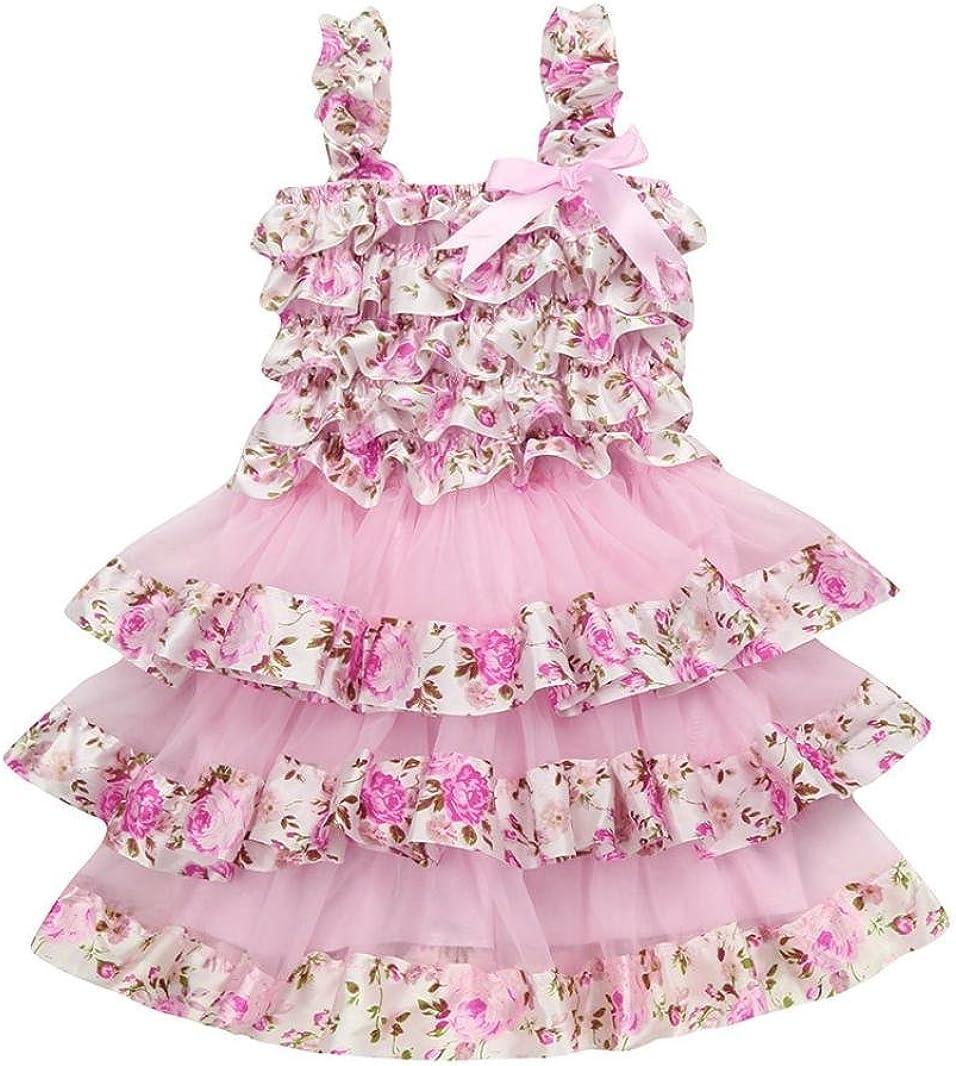 Goodlock Toddler Kids Fashion Dress Summer Children Girl Lace Gauze Floral Braces Princess Layered Dress