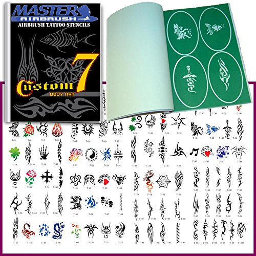 Master Airbrush Brand Airbrush Tattoo Stencils Set Book #7 Reuseable Tattoo Template Set, Book Contains 100 Unique Stencil Designs, All Patterns Come on Vinyl Sheets with a Self Adhesive Backing. ()