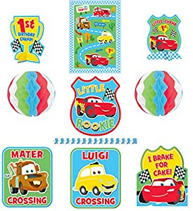 Zooming Disney Cars 1st Birthday Party Assorted Room Decorating Kit , Multi, Paper , 9-Piece