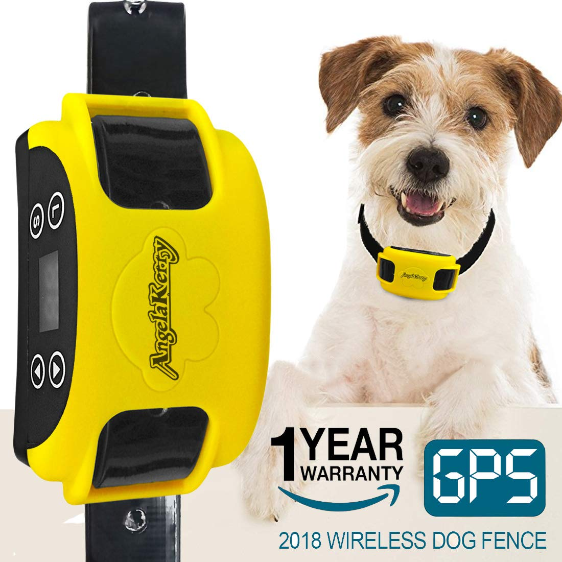 AngelaKerry Wireless Dog Fence System with GPS, Outdoor Invisible Pet Containment System Rechargeable Waterproof Collar 850YD Remote for 15lbs-120lbs Dogs (1pc GPS Receiver by 1 Dog)