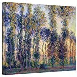 Art Wall Poplars at Giverny at Sunrise Gallery Wrapped Canvas by Claude Monet, 14 by 18-Inch