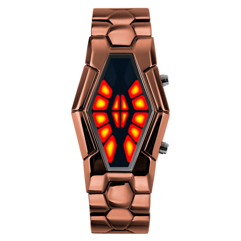 Men's waterproof sports watch,Cobra shape zinc alloy strap fashion cool two-color led boot animation wristwatch-A