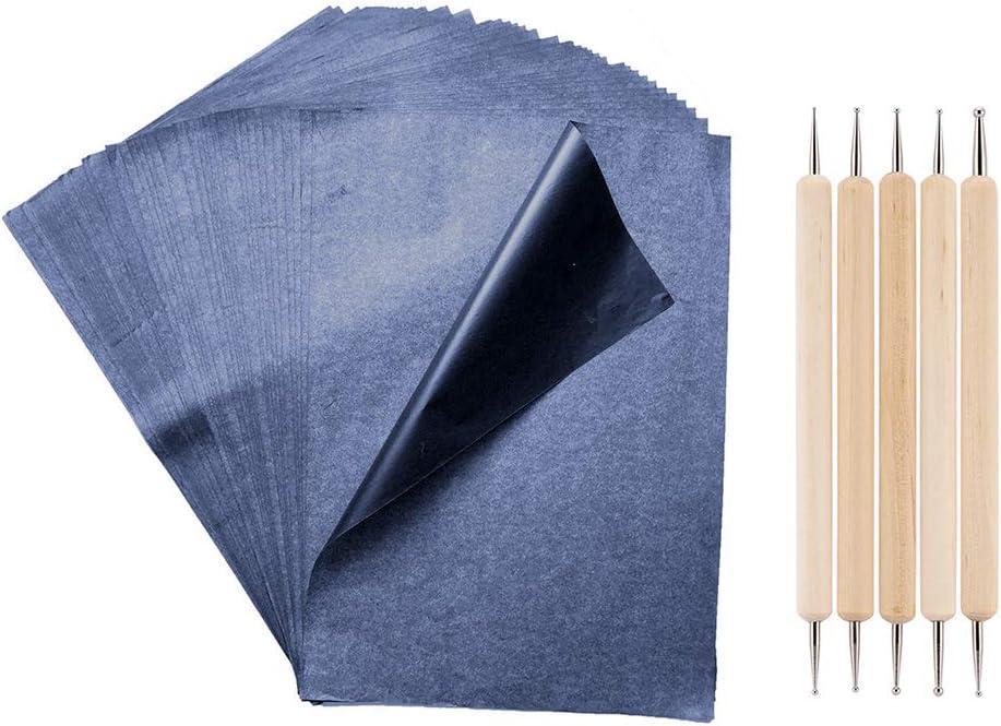 Lot de 100 feuilles de papier de transfert carbone Noir//bleu graphite A4 avec stylet en relief pour bois//papier//toile