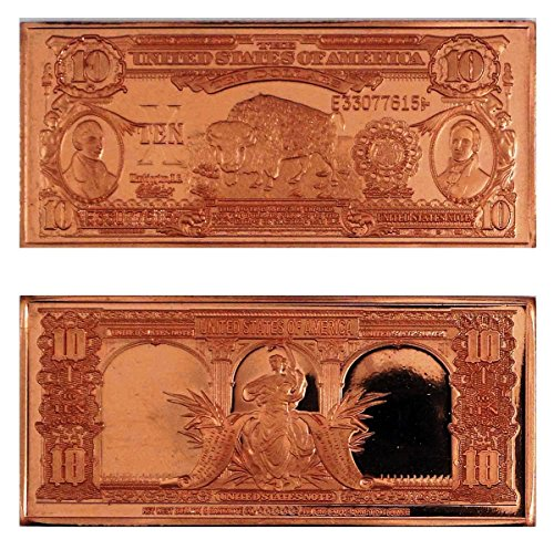 """1 – 1901 $10 """"Bison"""" United States Bank Note Design 1 Ounce Copper Bar – Uncirculated"""