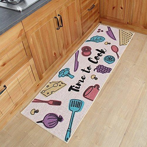 Carvapet 2 Piece Kitchen Mat No Rubber Backing Doormat Runner Rug Set, Cooking Time Design (Pink 19