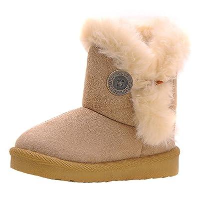 Botas De Nieve para Niños Invierno Botines Caliente Suave Soles Flanging Boton De Decoracion Niños Botines: Amazon.es: Zapatos y complementos